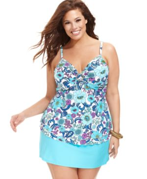 Island Escape Plus Size Underwire Floral-Print Tankini Top Women's Swimsuit