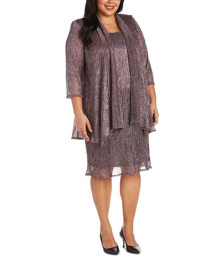 R & M Richards - Plus Size Sleeveless Metallic Dress and Jacket