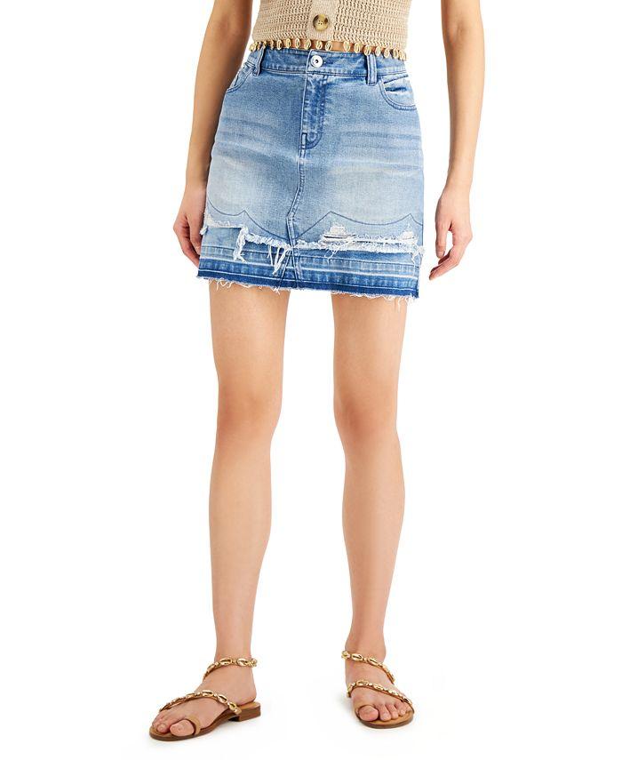 INC International Concepts - Double-Hem Mini Jean Skirt