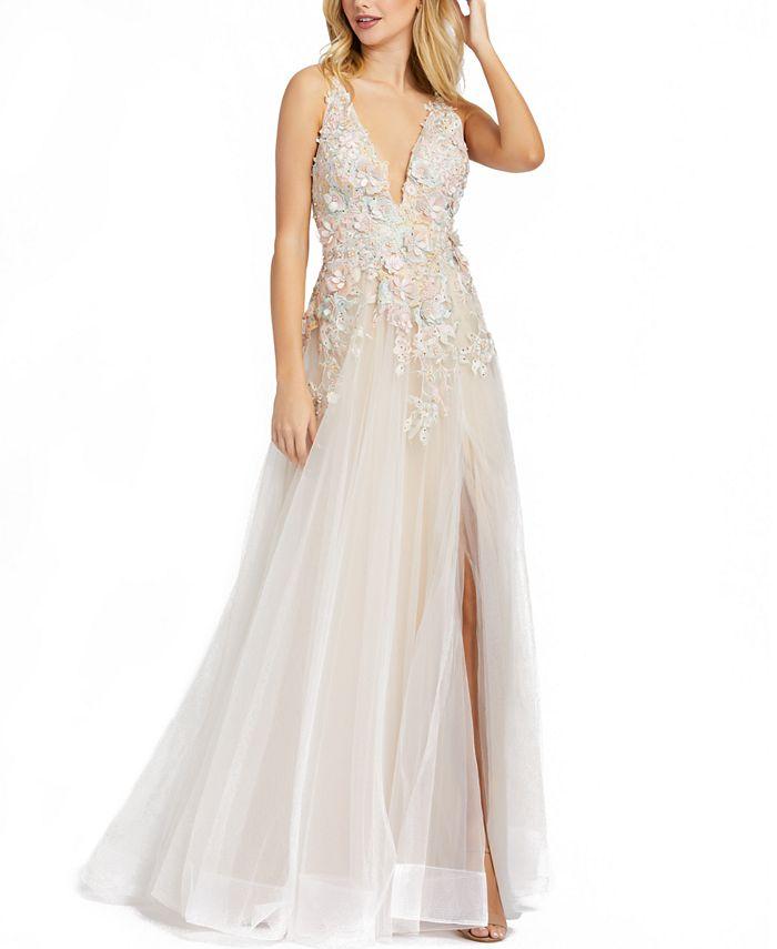 MAC DUGGAL - Beaded Floral Appliqué Gown