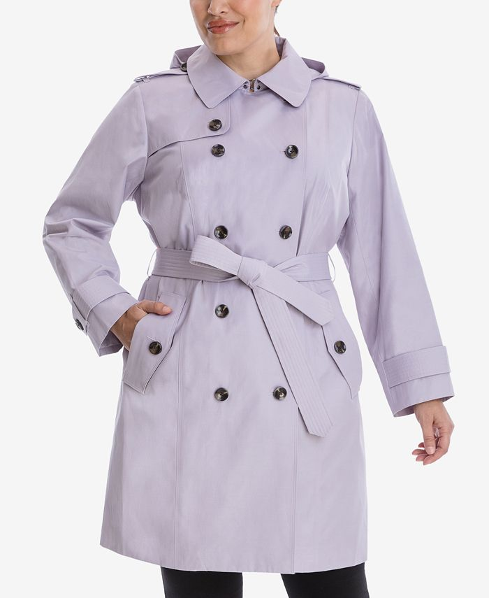 London Fog - Plus Size Hooded Double-Breasted Trench Coat