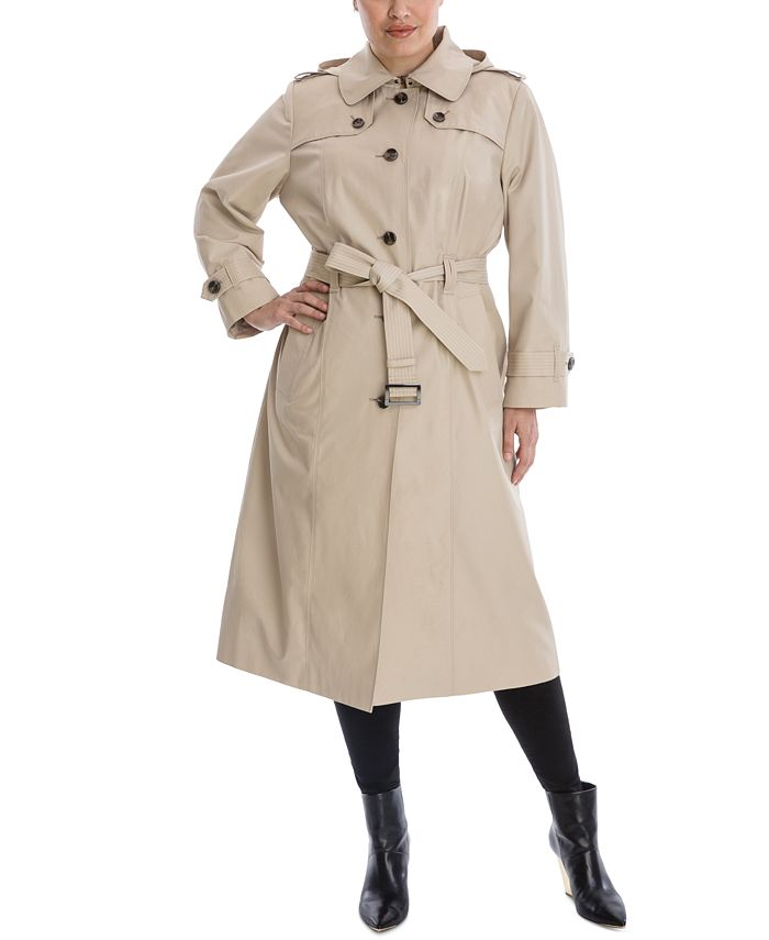 London Fog - Plus Size Hooded Maxi Trench Coat