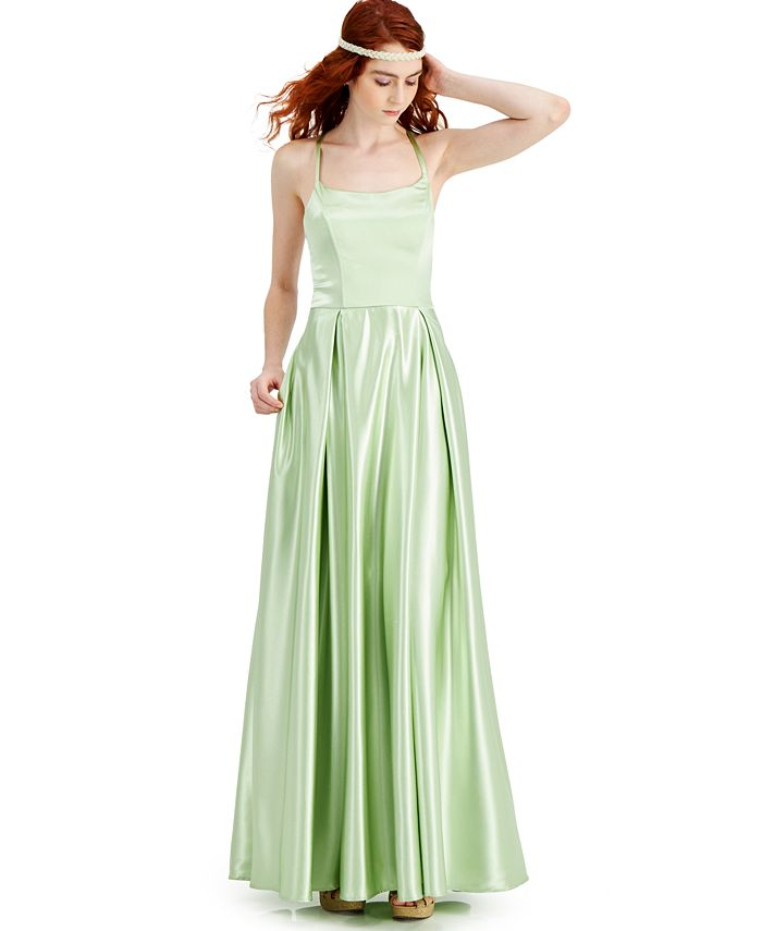 Speechless - Juniors' Lace-Up-Back Satin Ball Gown