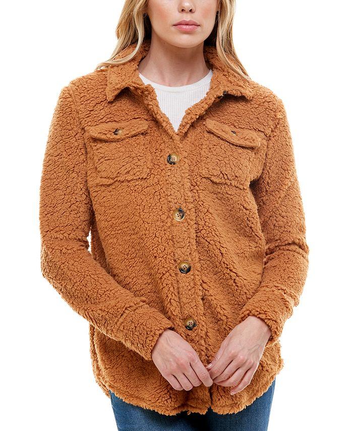 Derek Heart - Juniors' Faux-Sherpa Button-Front Shirt