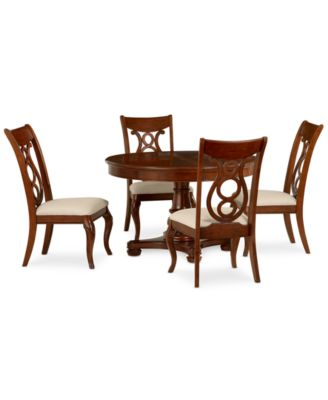 Bordeaux 5 Piece Round Dining Room Furniture Set (Table U0026 4 Side Chairs)