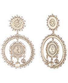 Marchesa Gold-Tone Pavé & Imitation Pearl Coin Drop Earrings