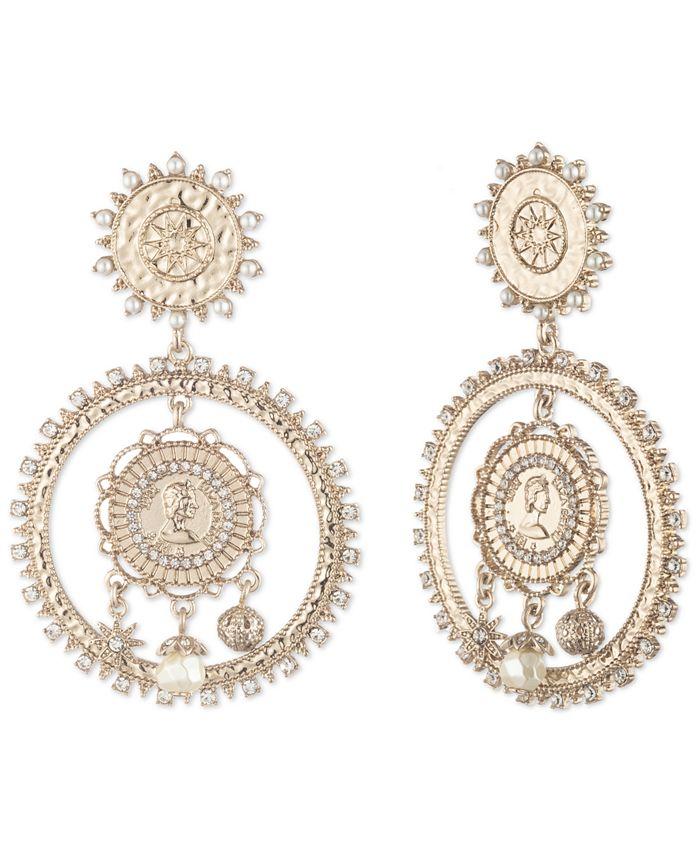 Marchesa - Gold-Tone Pavé & Imitation Pearl Coin Drop Earrings