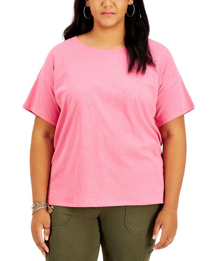 Style & Co - Plus Size Cotton Drop-Shoulder T-Shirt