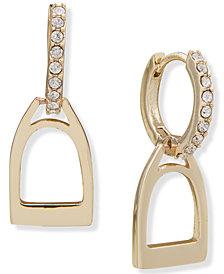 Lauren Ralph Lauren Stirrup Charm Pavé Hoop Earrings