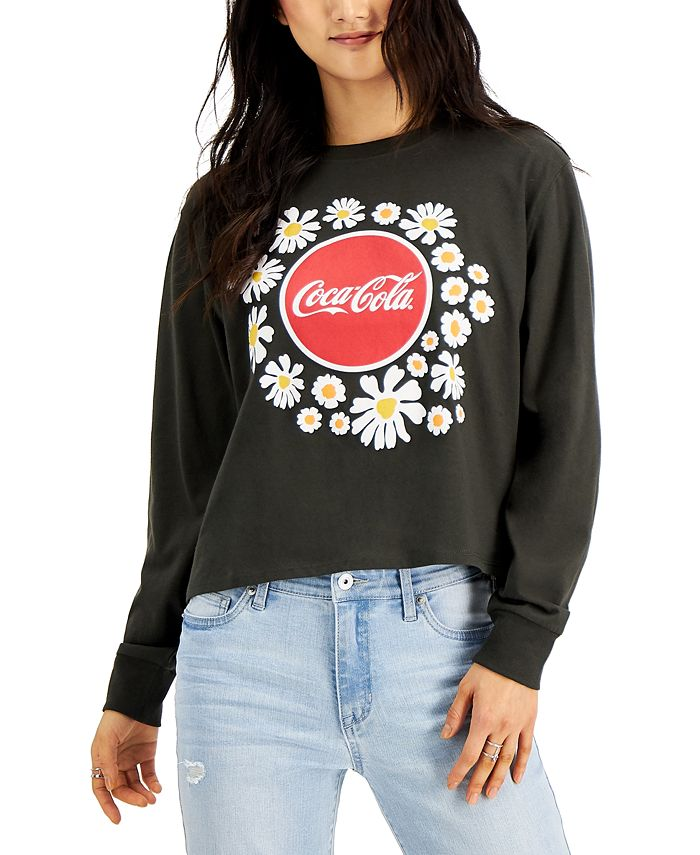 Mad Engine - Juniors' Floral Coca-Cola Long Sleeve Top