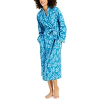 Charter Club Printed Cotton Wrap Robe