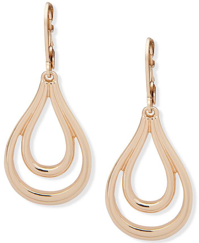 Anne Klein - Gold-Tone Link Open Drop Earrings