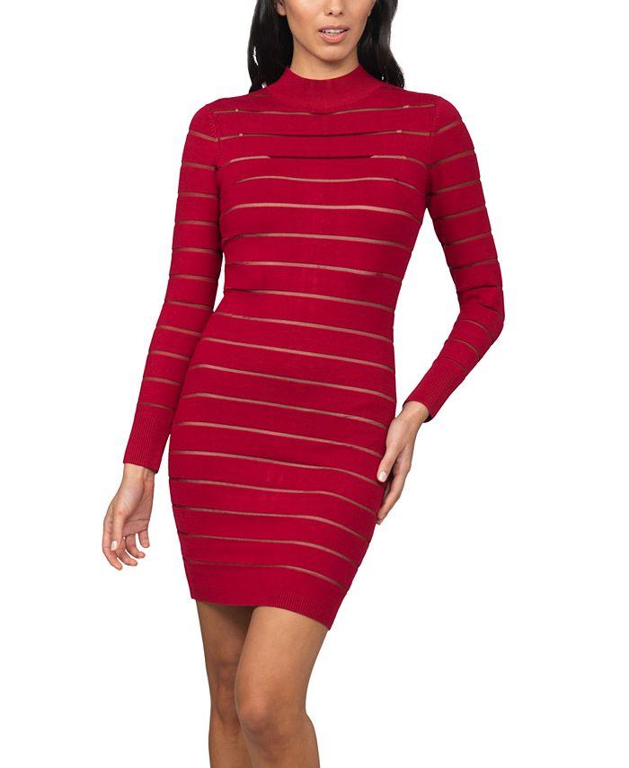 bebe - Juniors' Shutter-Style Sweater Dress