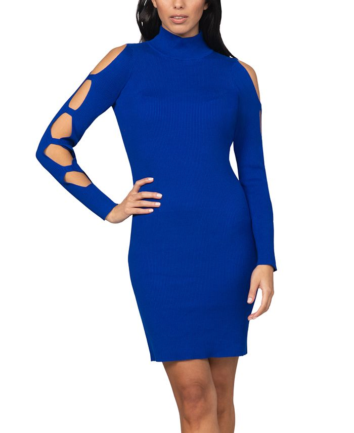 bebe - Juniors' Caged-Sleeve Ribbed Sweater Dress