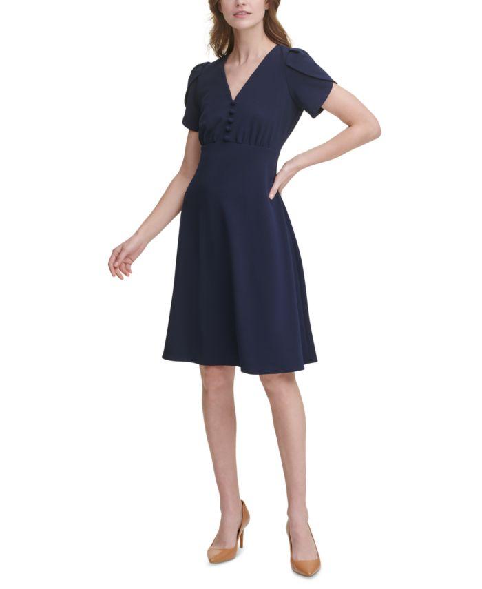 Calvin Klein Tulip-Sleeve A-Line Dress & Reviews - Dresses - Women - Macy's