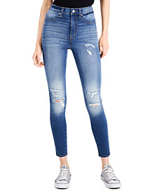 Celebrity Pink Juniors' Distressed Curvy High-Rise Skinny Jeans