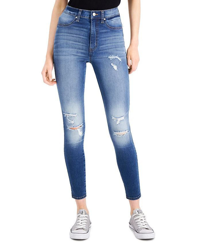 Celebrity Pink - Juniors' Distressed High-Rise Skinny Jeans