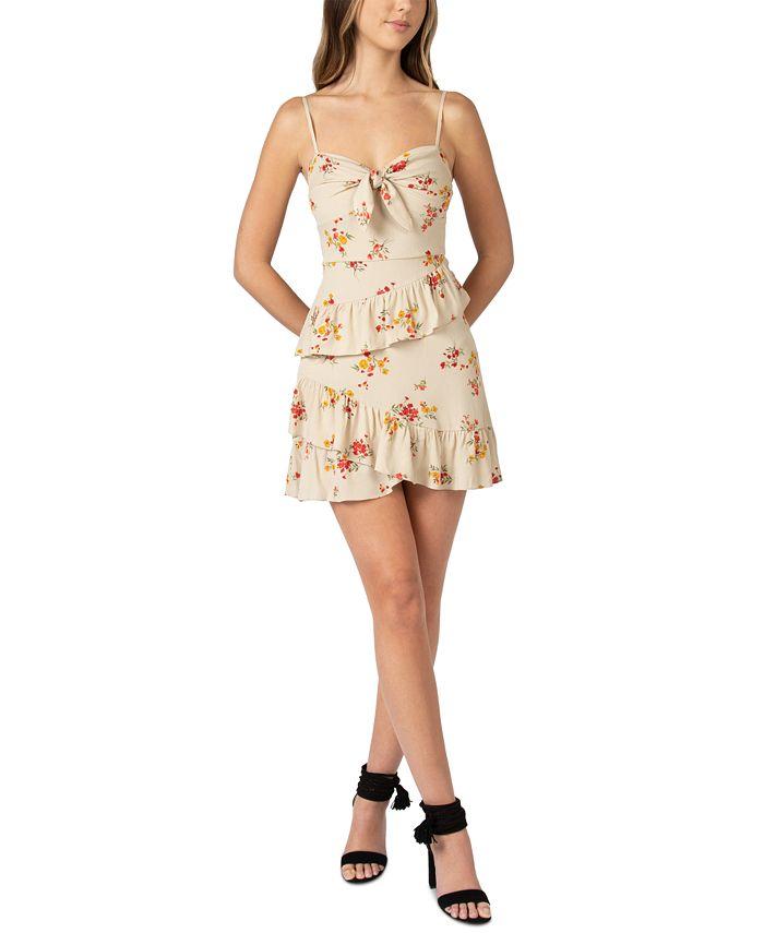 B Darlin - Juniors' Floral-Print Knot-Front Ruffled Dress