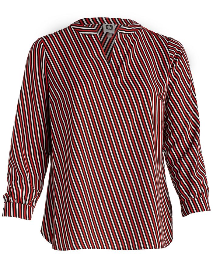 Anne Klein - Plus Size Striped Split-Neck Top
