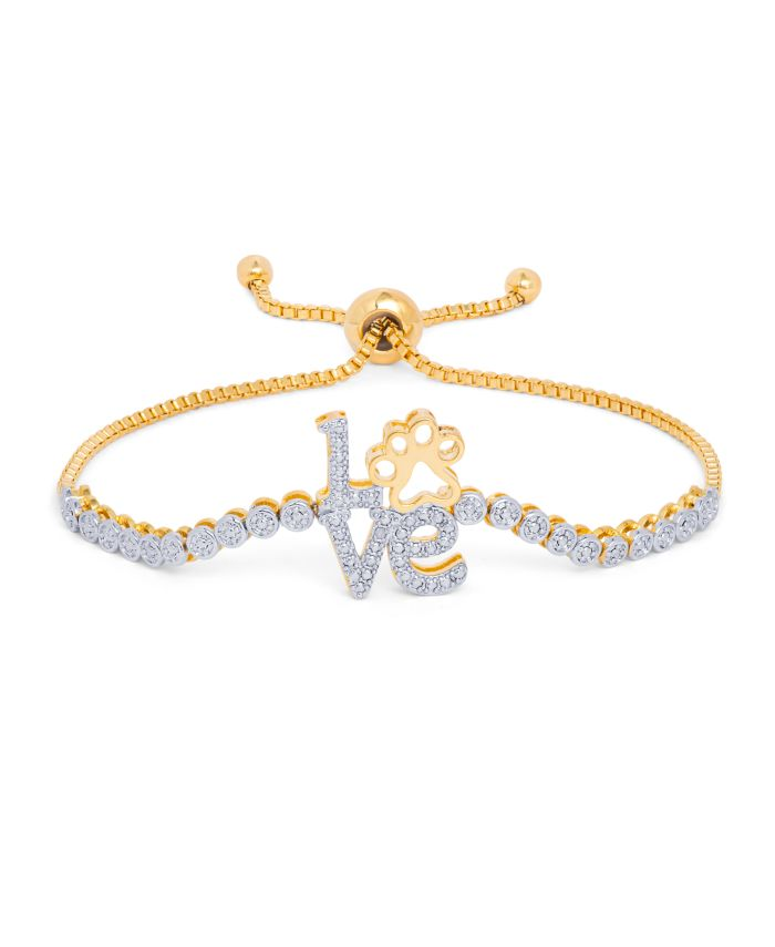 Macy's Diamond Accent Love Paw Adjustable Bolo Bracelet in Gold-Plate & Reviews - Bracelets - Jewelry & Watches - Macy's
