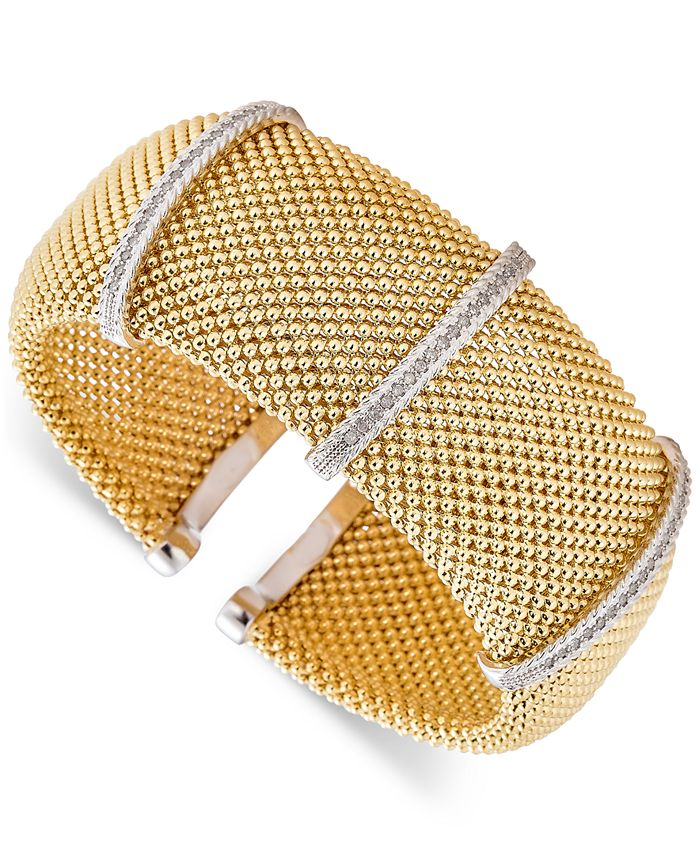 Macy's - Diamond Cuff Bracelet (1/2 ct. t.w.) in 14k Gold-Plated Sterling Silver