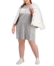 Tommy Hilfiger Plus Size Short-Sleeve Logo Dress, Created for Macy's