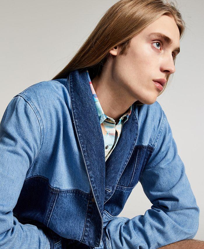 Sun + Stone - Men's Lucas Regular-Fit Colorblocked Patchwork Denim Jacket