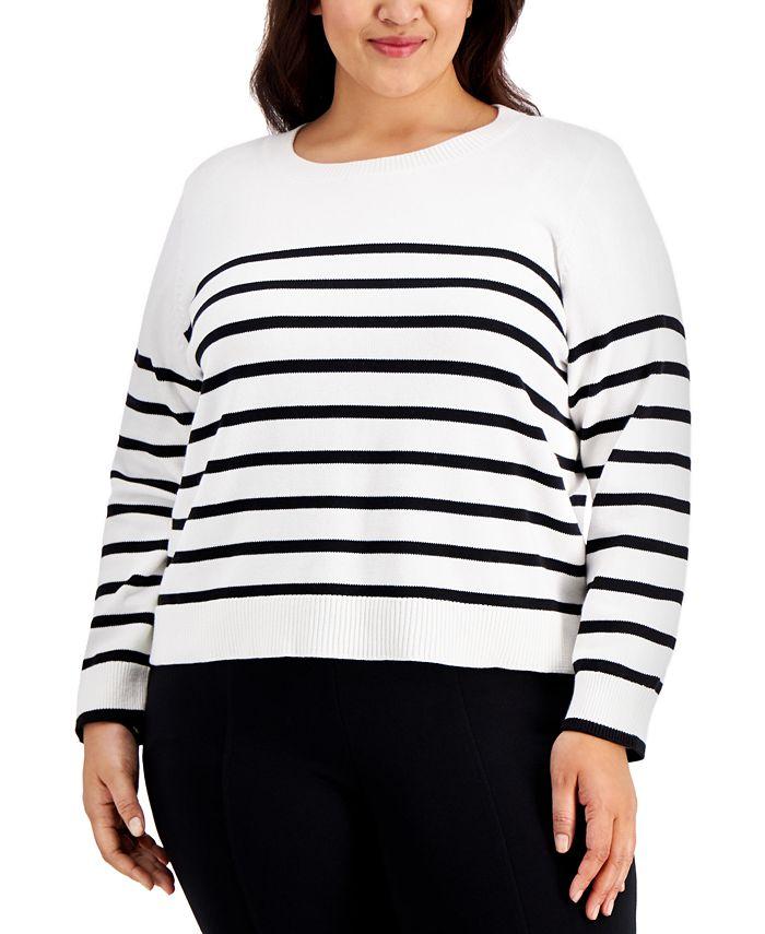 Calvin Klein - Plus Size Striped Sweater