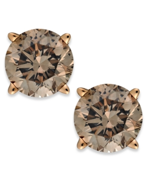 14k Rose Gold Champagne Diamond Stud Earrings (3/4 ct. t.w.)