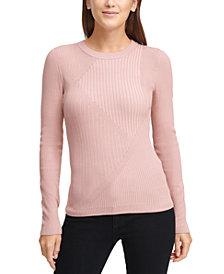 DKNY Striped Ribbed Asymmetrical Sweater
