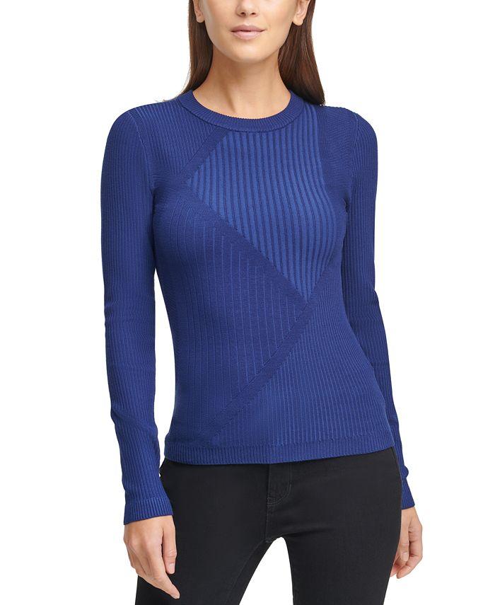 DKNY - Striped Ribbed Asymmetrical Sweater