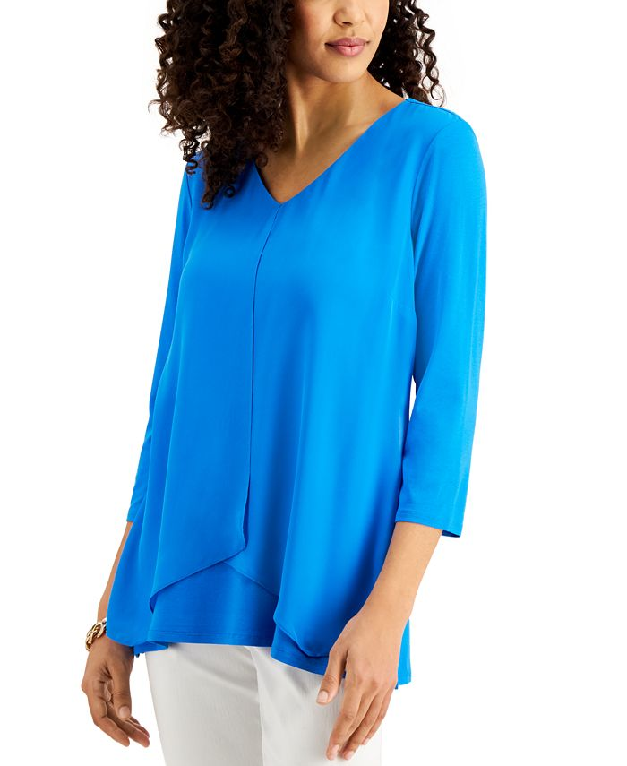 JM Collection - Solid 3/4-Sleeve Chiffon-Overlay Top
