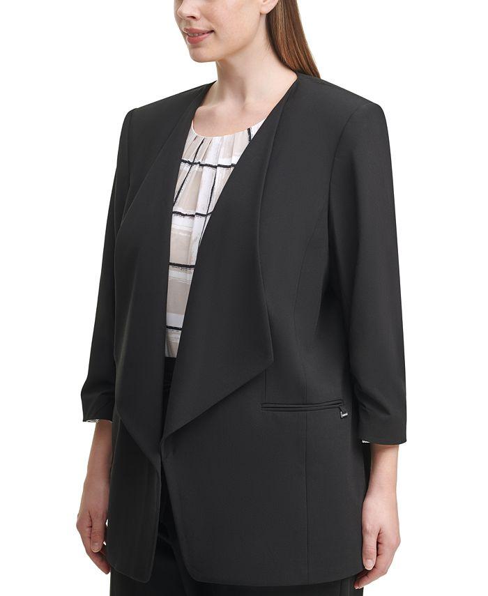 Calvin Klein - Plus Size 3/4-Sleeve Open-Front Jacket