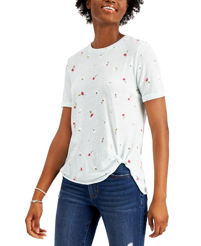 Self Esteem - Juniors' Side-Knot Floral-Print T-Shirt