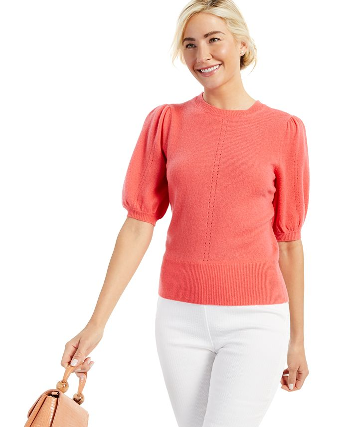 Charter Club - Cashmere Peggy Puff Short-Sleeve Sweater, Created for Macy's