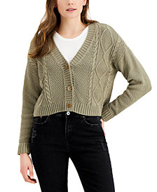 Hooked Up by IOT Juniors' Cable-Knit Cardigan