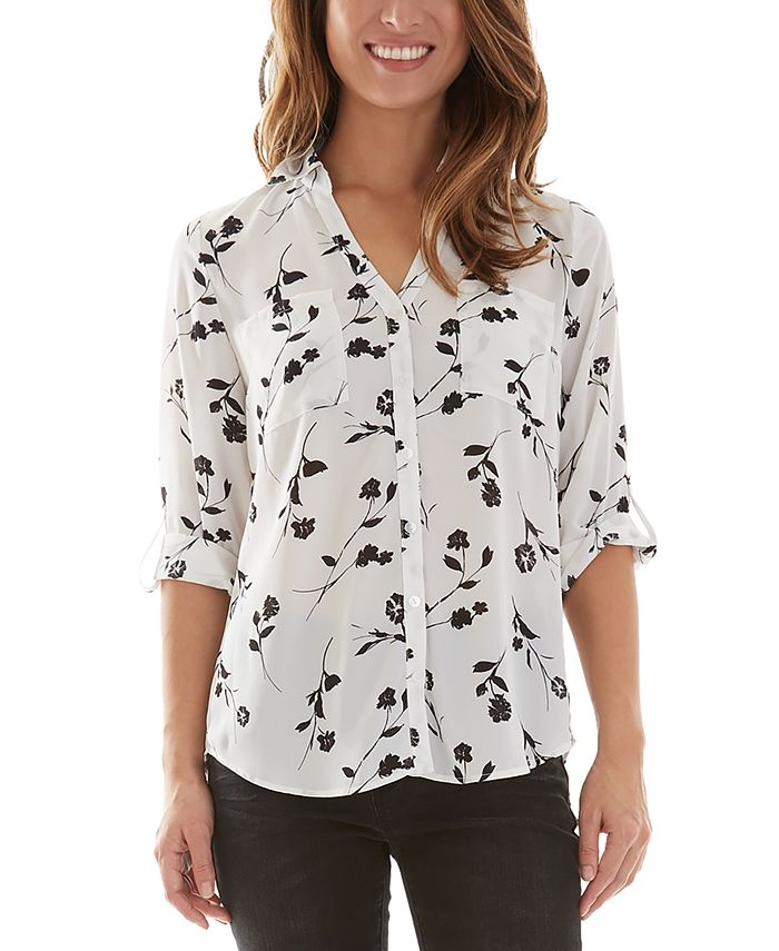 BCX - Collared Floral Button-Up Blouse