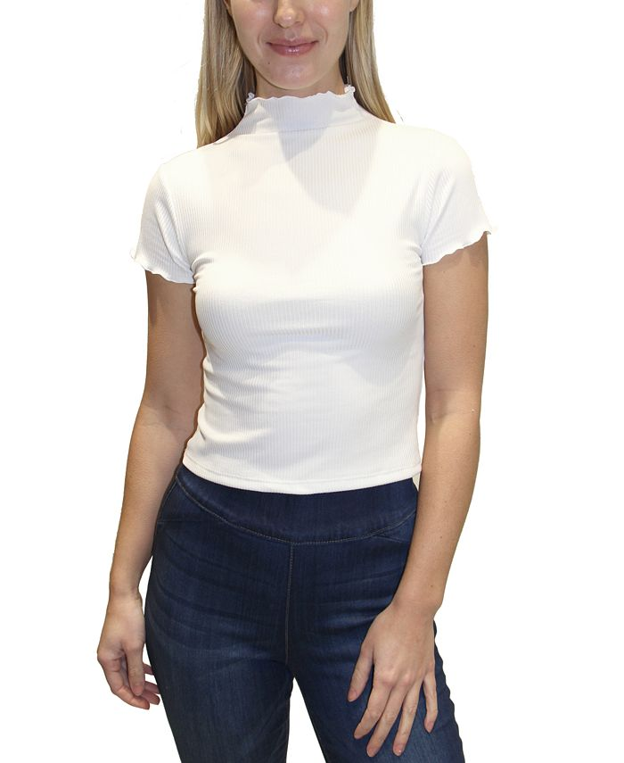 Almost Famous - Juniors' Ribbed Mock Neck Top