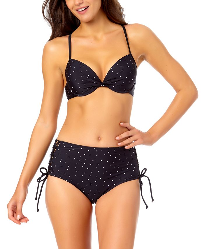 California Waves - Juniors' Strappy Bikini Top & High-Waist Drawstring Bottoms, Created for Macy's