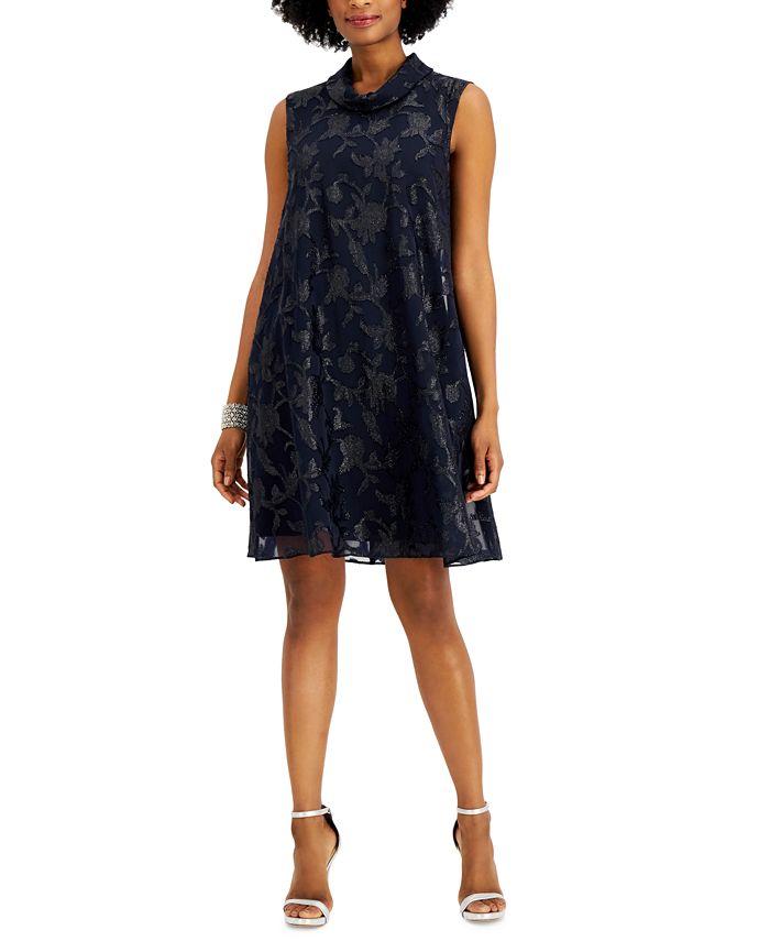 Connected - Roll-Collar Metallic Jacquard Dress