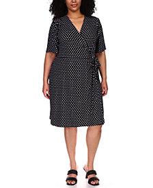 Michael Michael Kors Plus Size Dot-Print Faux-Wrap Dress