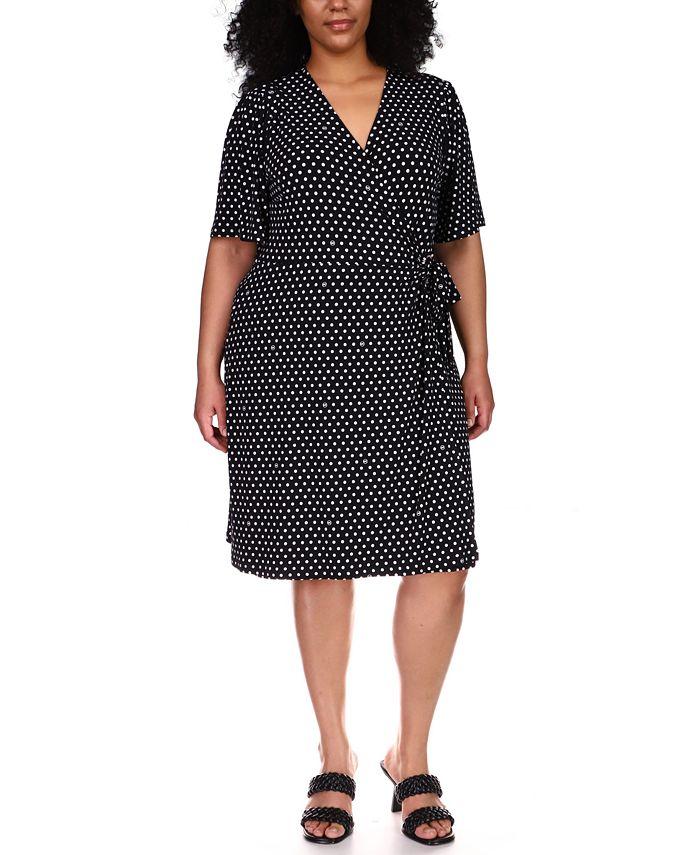 Michael Kors - Plus Size Dot-Print Faux-Wrap Dress