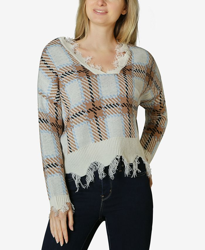 Polly & Esther - Distressed Plaid V-Neck Sweater