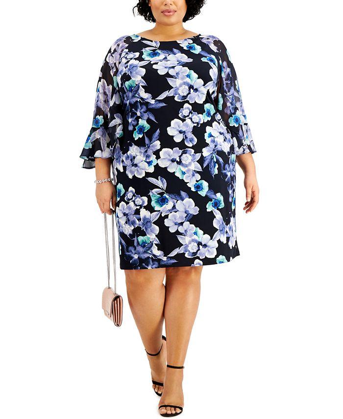 Connected - Plus Size Floral-Print Sheath Dress