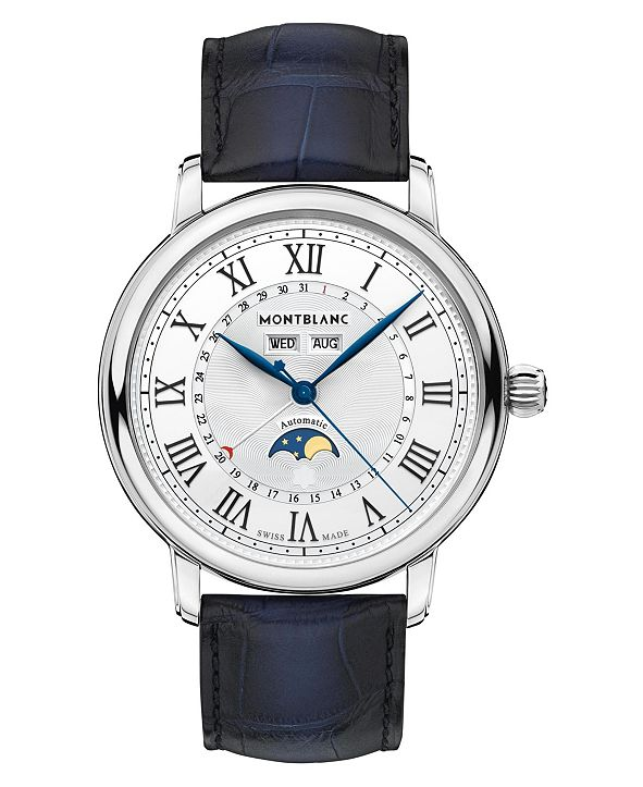 Montblanc Men's Swiss Automatic Star Legacy Blue Alligator Leather Strap Watch 42mm