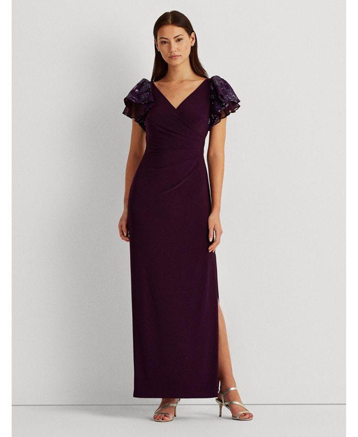 Lauren Ralph Lauren Embellished Flutter Sleeve Gown Created For Macy S Reviews Dresses Women Macy S