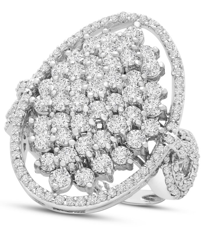 Macy's - Diamond Oval Cluster Ring (2 ct. t.w.) in 14k White Gold