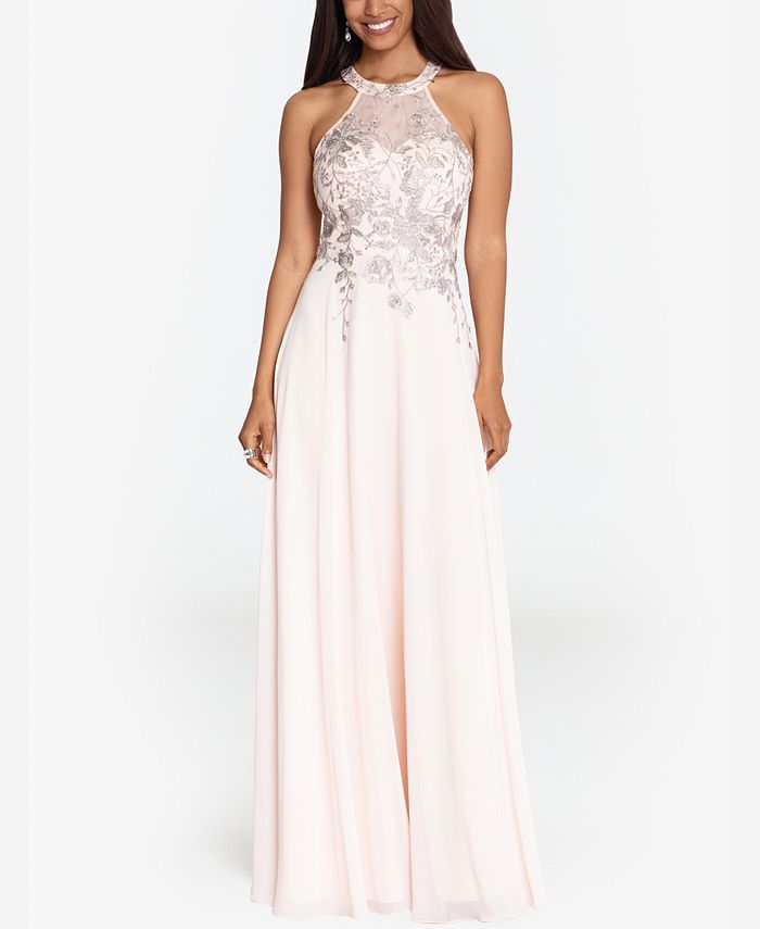 Betsy & Adam - Embellished Chiffon Illusion Gown