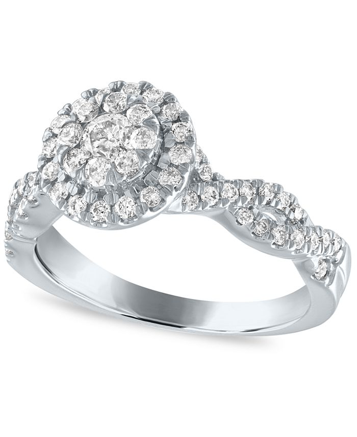 Macy's - Diamond Halo Cluster Engagement Ring (1/2 ct. t.w.) in 14k White Gold