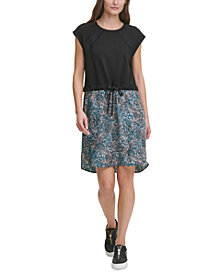 DKNY Mixed-Media Tie-Waist Dress